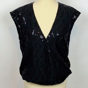 Michael Stars Sequin Blouse/Vest Crossover Sz L